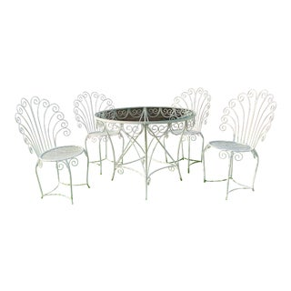 Italian Wrought Iron Patio Set - Set of 5 For Sale