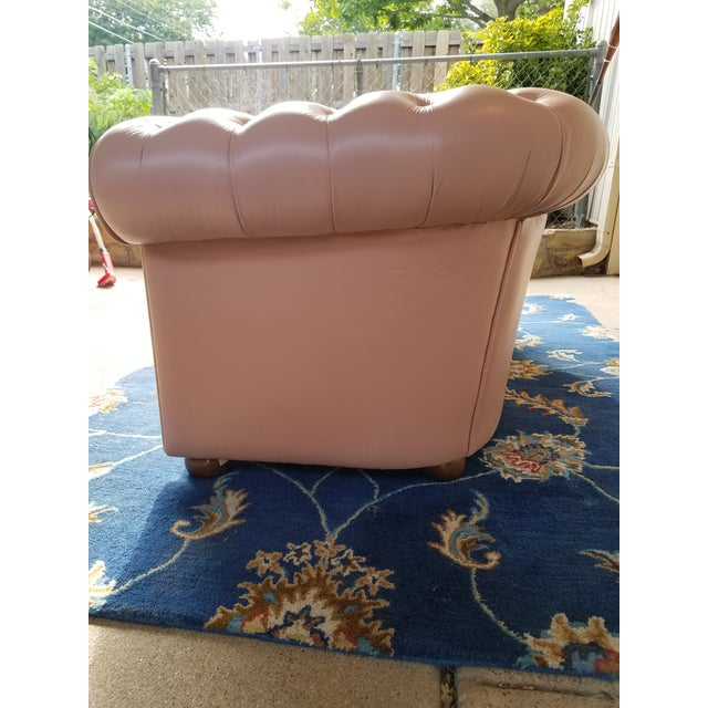 Pink Vintage Mid Century English Chesterfield Leather Sofa For Sale - Image 8 of 13