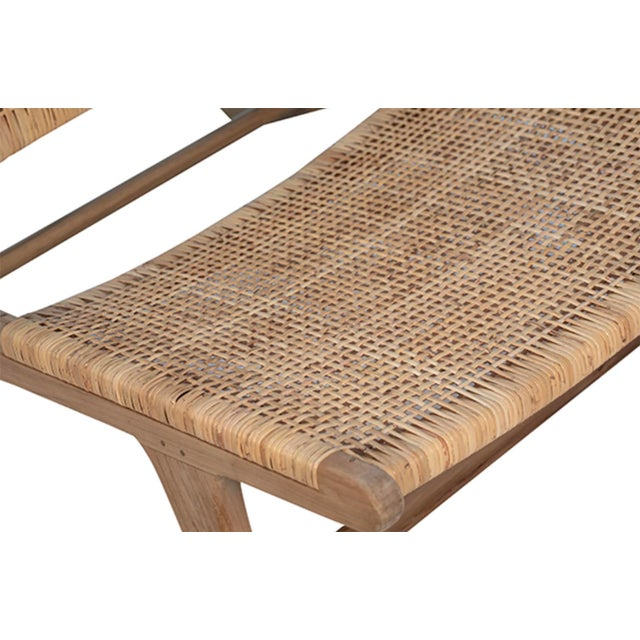 Natural Teak & Wicker Easy Chair For Sale - Image 4 of 6