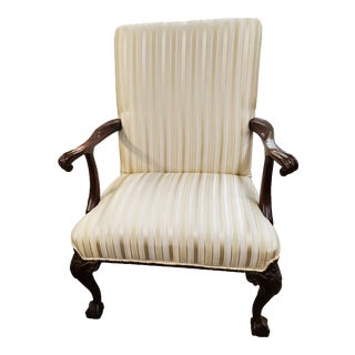 Late 20th Century Vintage Chippendale Style Mahogany Arm Chair For Sale