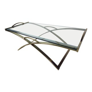 Mid-Century Modern Brass-Plated Coffee Table With Bevelled Glass Top For Sale