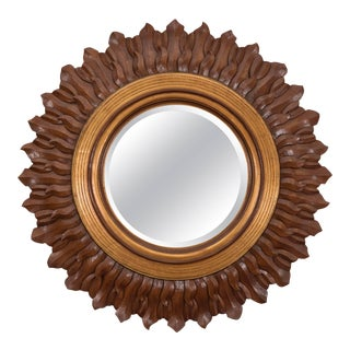 Sunburst Mirror in Carved and Giltwood Frame For Sale