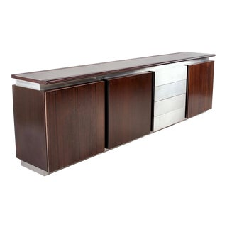 Ludovico Acerbis Mid Century Rosewood and Stainless Steel Sideboard For Sale