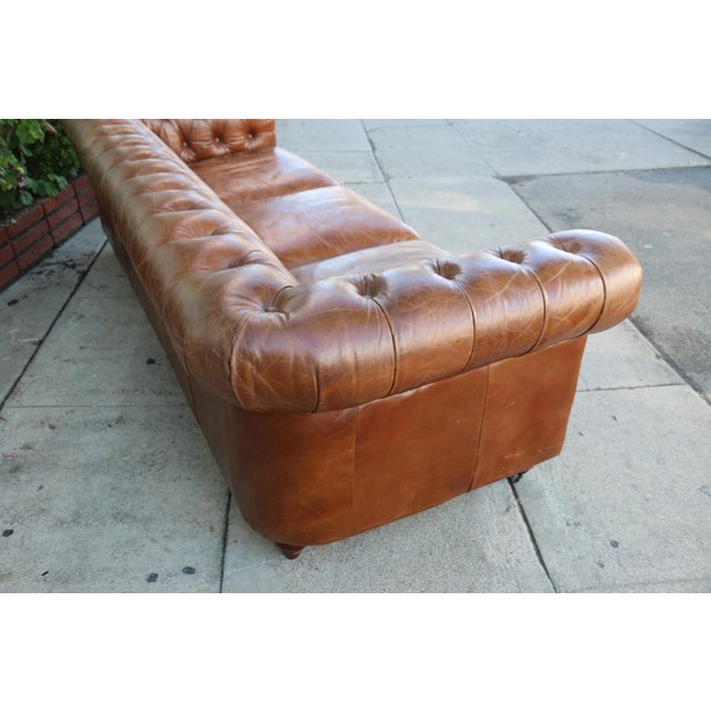 Hollywood Regency Modern Distressed Leather Tufted Chesterfield Sofa For Sale - Image 3 of 13
