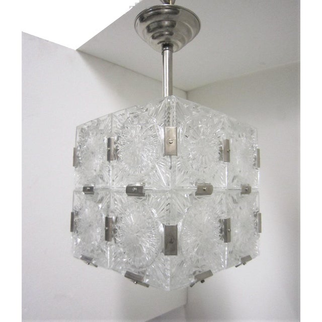 White Original Cut Glass With Nickeled Clips Box Cube Pendant Lights - Set of 3 For Sale - Image 8 of 12