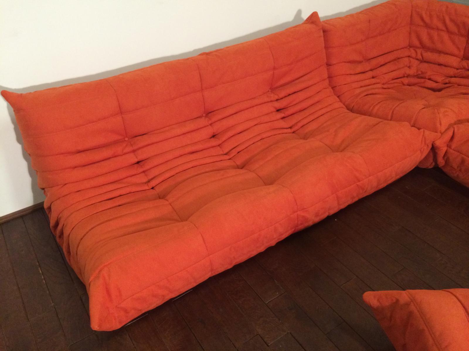 Mid Century Modern Michel Ducaroy For Ligne Roset Orange Togo Sofas   Set  Of 3
