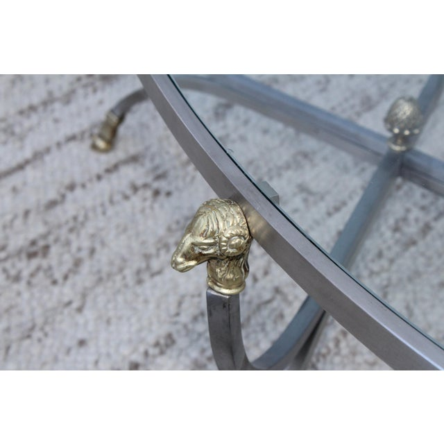 Steel and Brass Rams Head Oval Italian Coffee Table For Sale - Image 4 of 13
