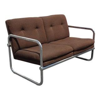 Vintage Mid Century Modern Brown Chrome Brown Tweed Settee Loveseat For Sale