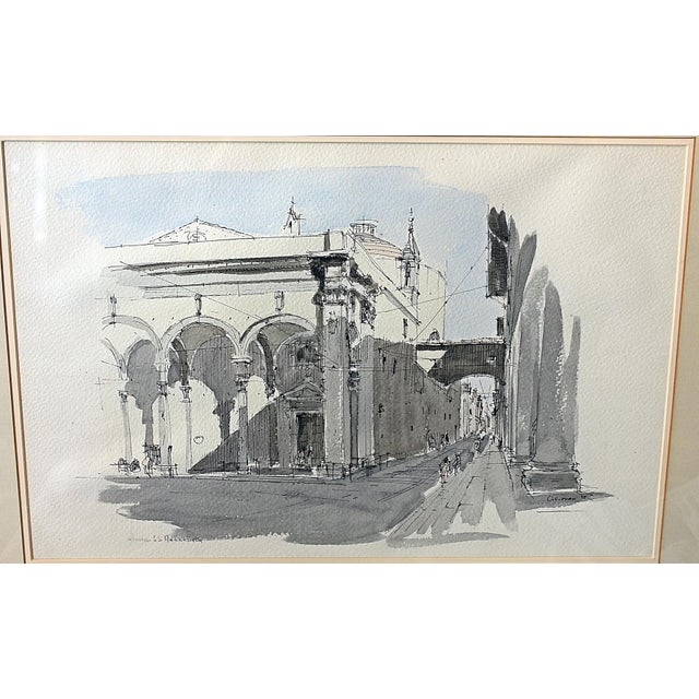 Framed Pen & Ink Watercolors - a Pair - Image 4 of 8