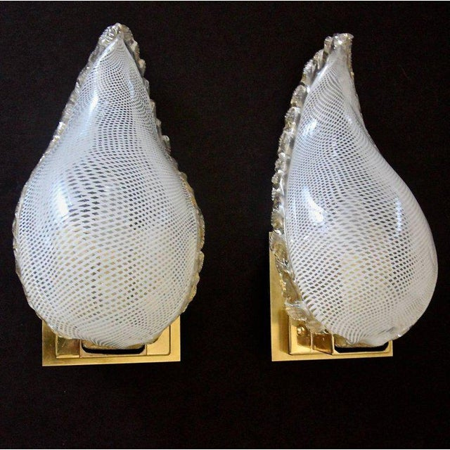 1940s Mid-Century Modern Murano Latticino Leaf Form Wall Sconce Lights - a Pair For Sale - Image 12 of 13
