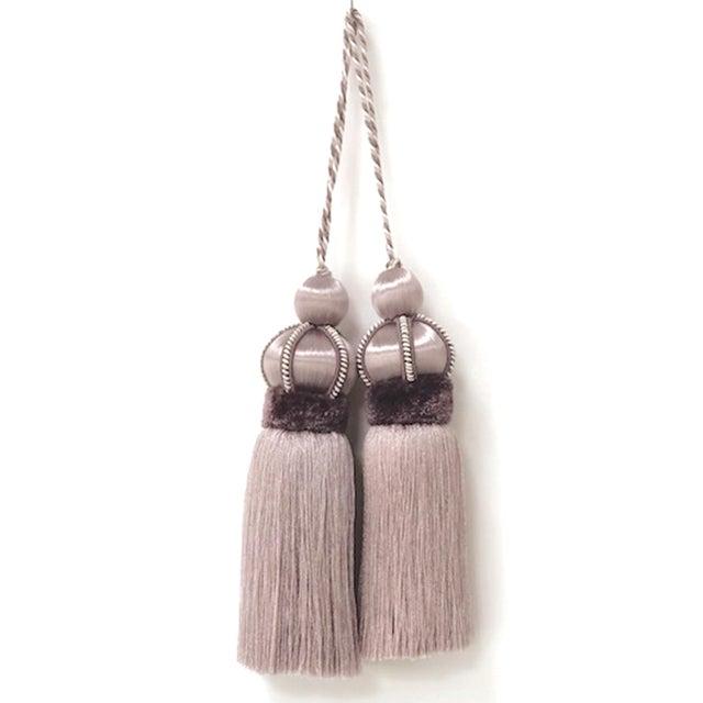 Lavender Key Tassel With Cut Velvet Ruche - a Pair For Sale - Image 12 of 12