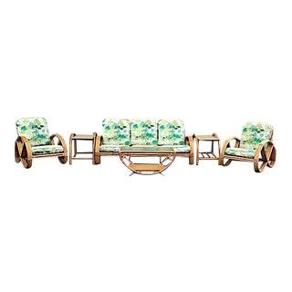 Original Mid-Century Rattan Pretzel Sofa Set - Set of 6