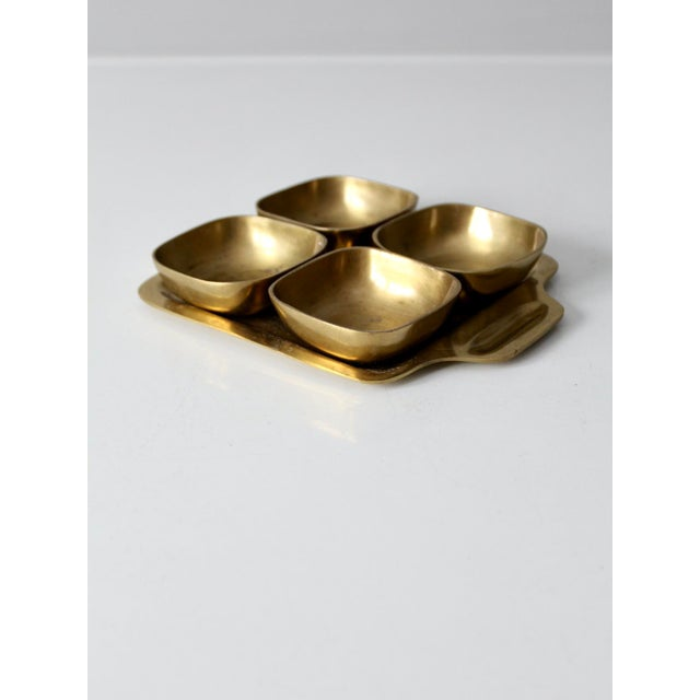 Mid-Century Modern Vintage Brass Tray With Dividing Bowls - Set of 5 For Sale - Image 3 of 10