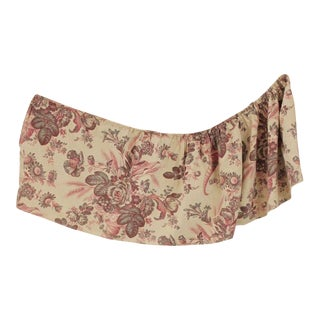 Antique French Faded Purple Floral Ruffle Valance Textile For Sale