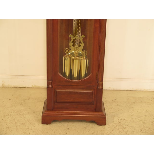 Item: 29475EC: SETH THOMAS Cherry Tall Case Grandfather Clock Age: Approx: 25 Years Old Details: Beveled Glass Quality...