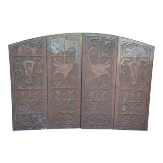 Antique Copper Cats Swans Crest Fireplace Folding Screen For Sale