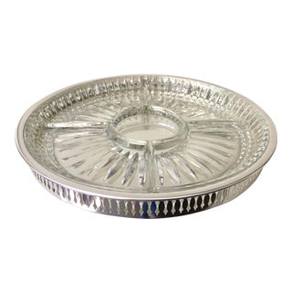 Silver-Plate Tray W/ Pressed Glass Divided Plate, 2 Pieces For Sale