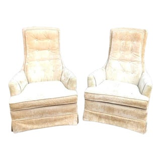 Broyhill Light Green Velvet Tufted High-Back Chairs - a Pair For Sale