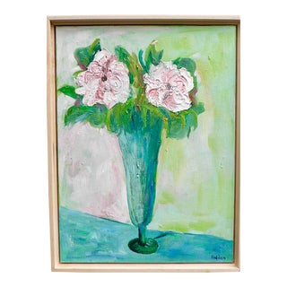 Impressionist Two French Roses on Green Contemporary Oil Painting For Sale