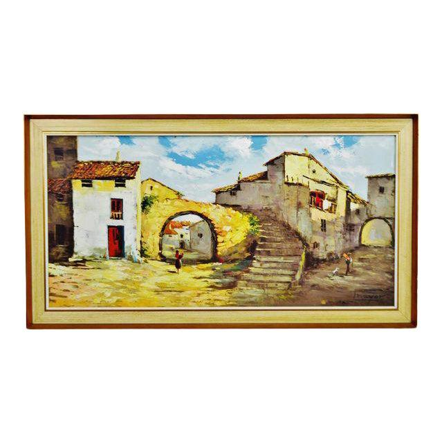 Framed European Village Scene Oil Painting For Sale