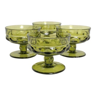 Vintage Verde Thumbprint Kings Crown Style Green Glasses - Set of 4 For Sale
