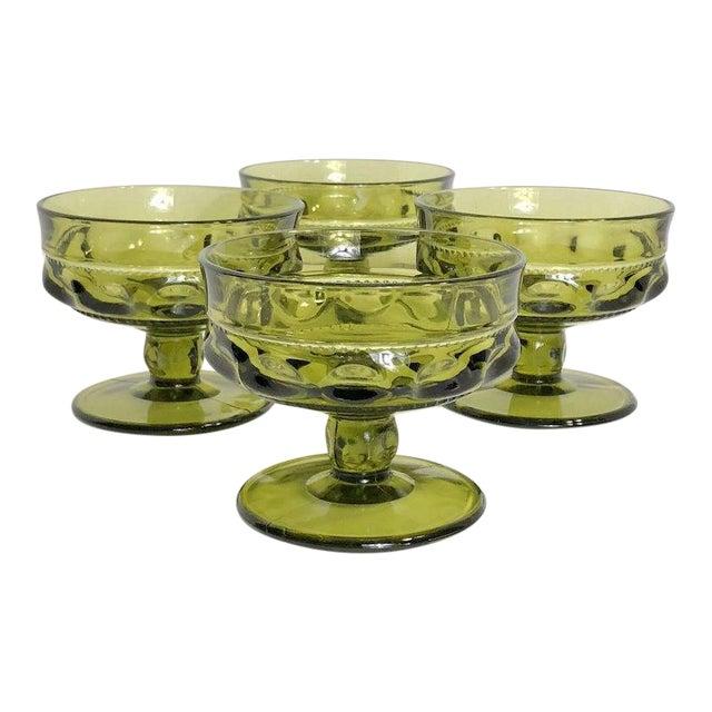 Vintage Verde Thumbprint Kings Crown Style Green Glasses - Set of 4 For Sale