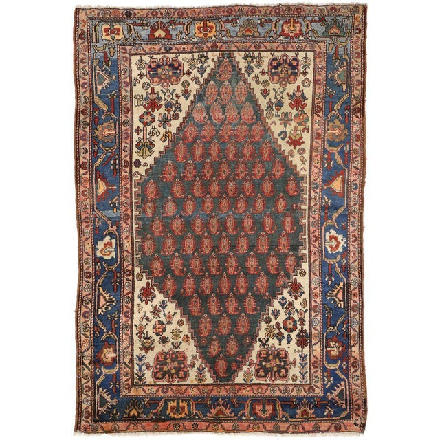 Textile Antique Persian Malayer Rug with Modern Traditional Style For Sale - Image 7 of 8