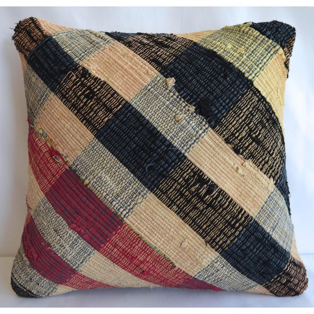 """16"""" Vintage Handmade Ragrug Rug Pillow Cover With Free Insert For Sale - Image 6 of 6"""