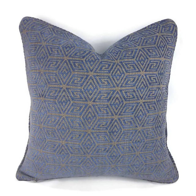 """Not Yet Made - Made To Order F. Schumacher """"Cosmati"""" Chenille Ultramarine Pillow Cover - 20"""" X 20"""" For Sale - Image 5 of 5"""