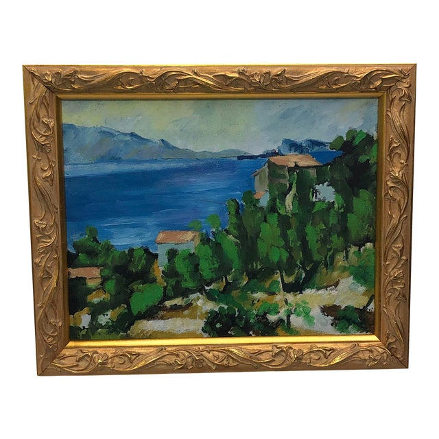 Vintage French Painting Replica of the Bay of l'Estaque by Cezanne For Sale