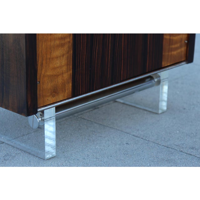 Mid-Century Wooden Nightstand on Lucite Base - Image 8 of 11