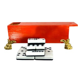 Handmade Blood Orange Footed Wood Box Dominoes Game - Set of 28 For Sale