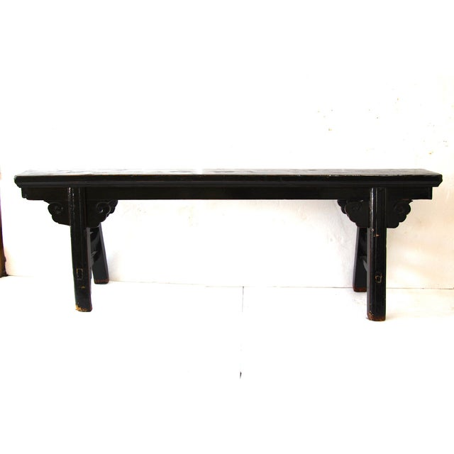 Hand Carved Chinese-Style Black Altar Bench - Image 3 of 8
