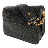 Image of Vintage Bally Handbag Quilted Black Lamb Skin Leather For Sale