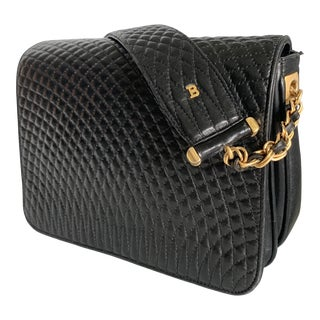 Vintage Bally Handbag Quilted Black Lamb Skin Leather For Sale