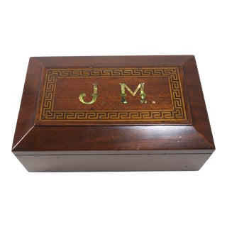 Antique Hand Made Inlay Decorated Mahogany Trinket Box For Sale