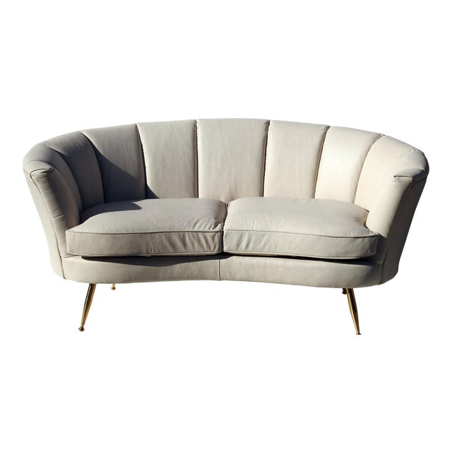 Modern Italian Leather Loveseat - Image 1 of 6