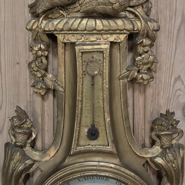 18th Century Giltwood Hand Carved Barometer - Thermometer For Sale In Dallas - Image 6 of 11