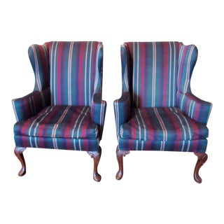 Vintage Hickory Chair Co. Wingback Georgian Style Chairs - a Pair For Sale