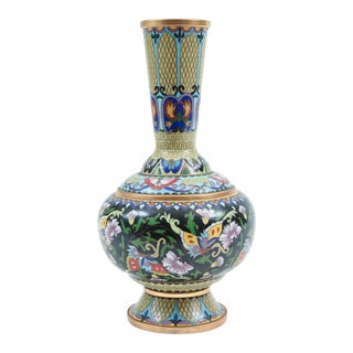Mid-20th Century Cloisonné Floral Motif Decorative Vase For Sale