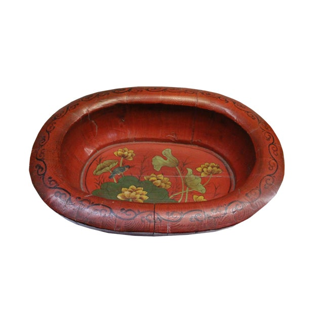 Chinese Vintage Distressed Red Flower Oval Shape Wood Bucket For Sale