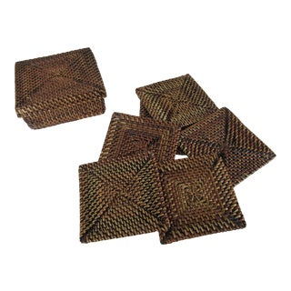 Rattan Coasters & Case- 7 Pieces For Sale