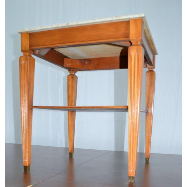 Traditional Square Side Table With Marble Top - Image 7 of 7