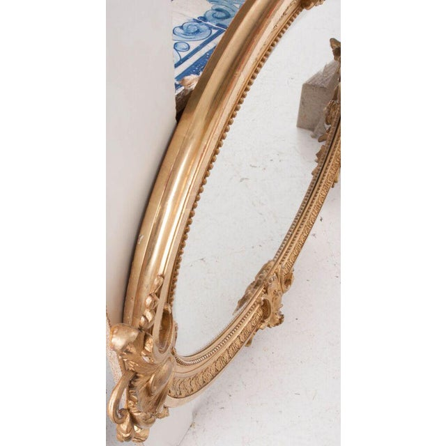 French 19th Century Oval Gold Gilt Mirror For Sale - Image 9 of 10