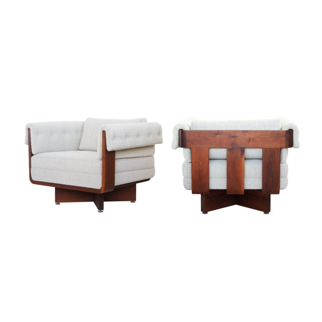 Mid-Century Solid Walnut X-Base Chairs - A Pair - Image 4 of 10