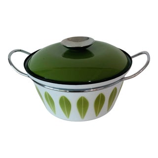 Norwegian Modern Cathrineholm Olive Green Lotus Covered Casserole For Sale