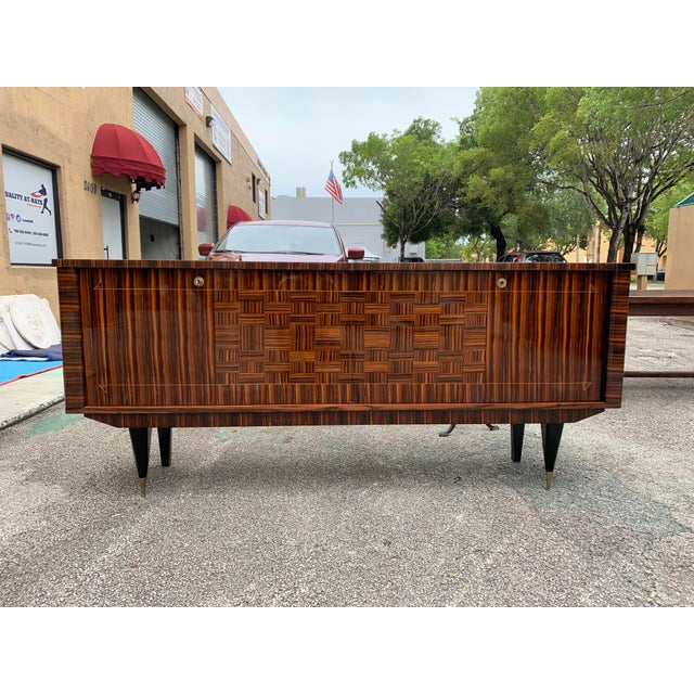 1940s 1940s Art Deco Exotic Macassar Ebony Sideboard/Credenza For Sale - Image 5 of 13