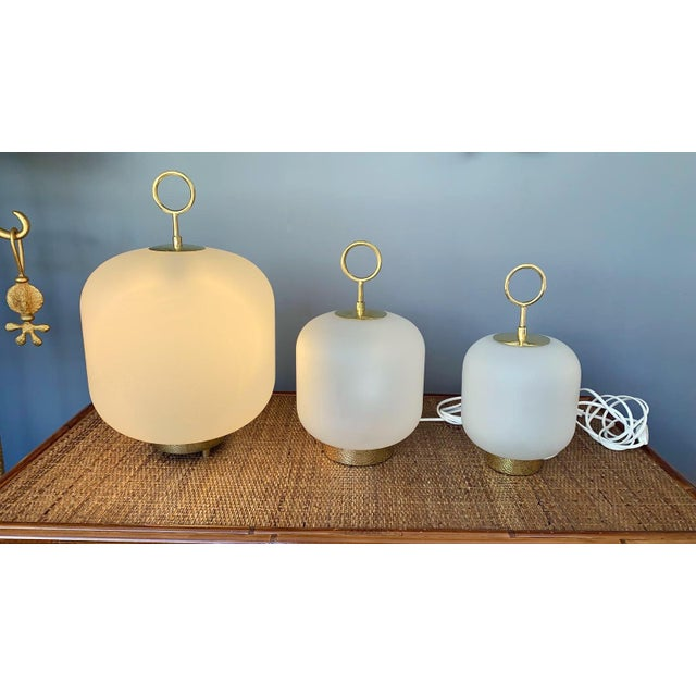 Contemporary Murano Glass Brass Ring Medium Can Lamps - a Pair For Sale - Image 12 of 13