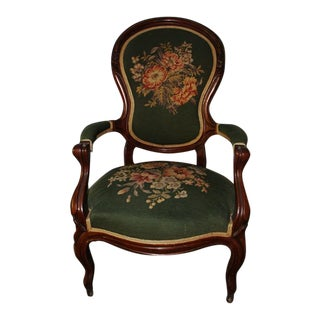 Antique Style Needlepoint Gentleman's Balloon Back Parlor Accent Arm Chair For Sale