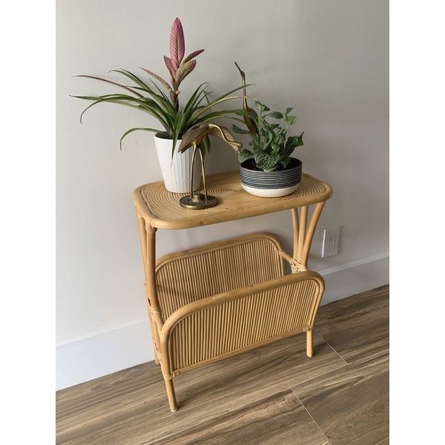 1970s 1970s Rattan Split Reed Magazine Rack Side Table For Sale - Image 5 of 12